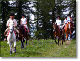 A riding class across the woods